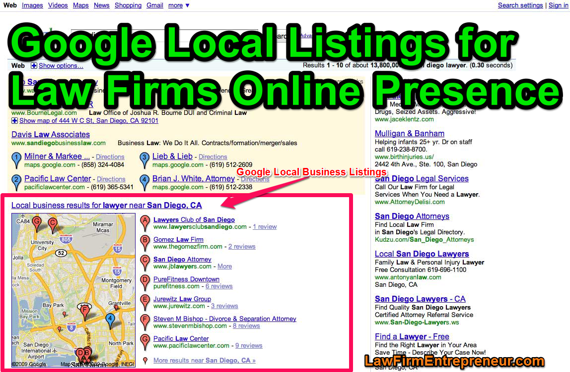 google local listings for law firms